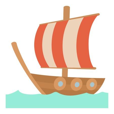 Sailing ship icon , cartoon style