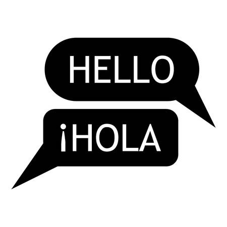 pronunciation in letters: Speaking spanish icon, simple style