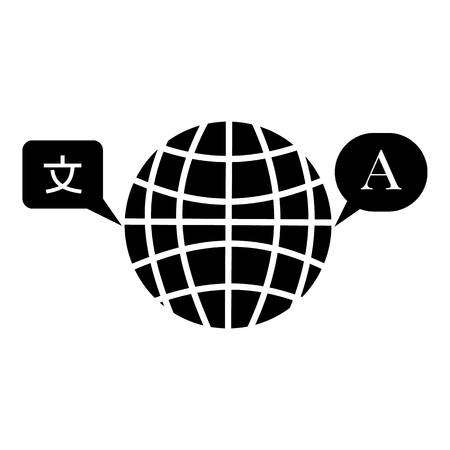 pronunciation in letters: Globe launguage icon, simple style Illustration