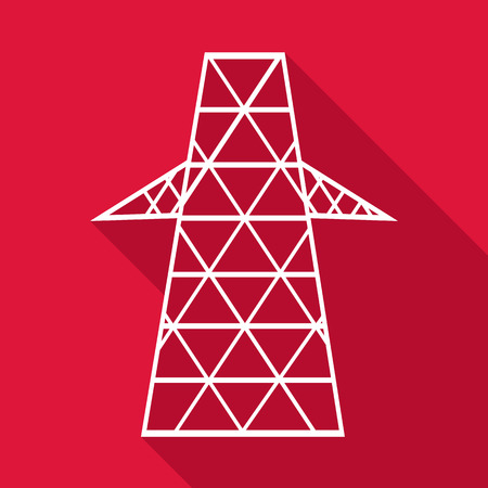 technics: Electric pole icon, flat style Illustration