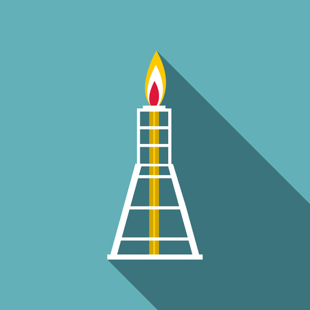 Chemical burner icon, flat style Illustration