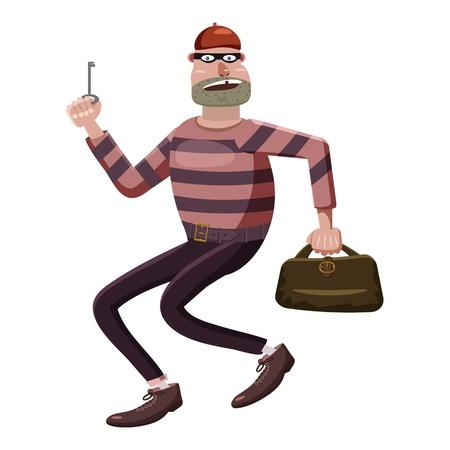 delincuencia: icono ladrón, estilo de dibujos animados