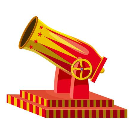 Circus cannon icon, cartoon style Illustration
