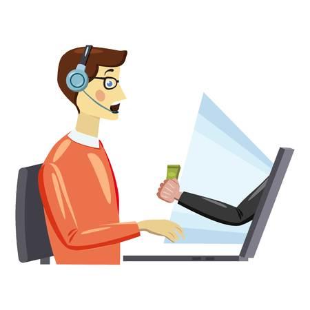 Online work icon, cartoon style