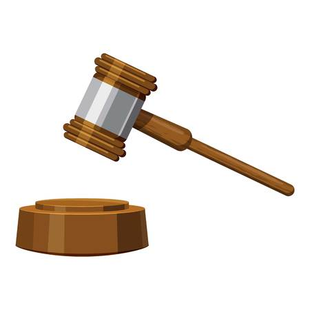 supreme court: Gavel icon, cartoon style Illustration
