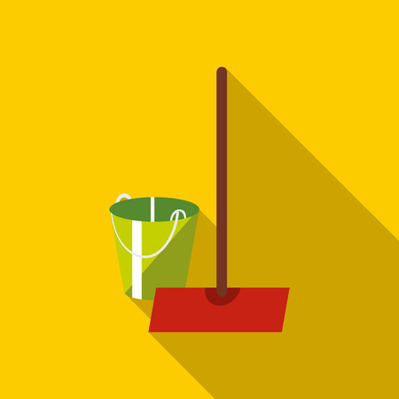 wet floor sign: Mop and bucket icon, flat style Illustration