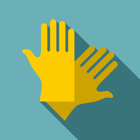 latex gloves: Latex gloves icon, flat style Illustration