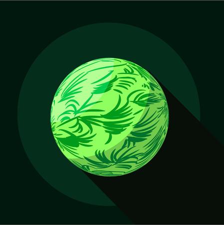planeta verde: icono de planeta verde, estilo plano