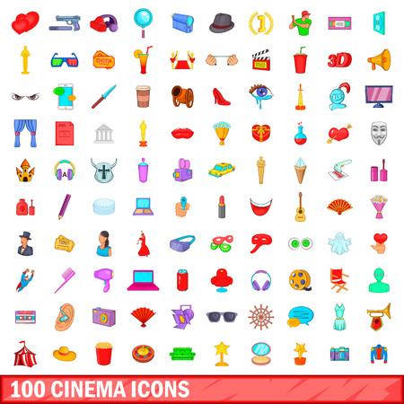 100 cinema icons set, cartoon style