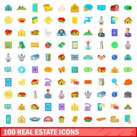 valuation: 100 real estate icons set in cartoon style for any design vector illustration