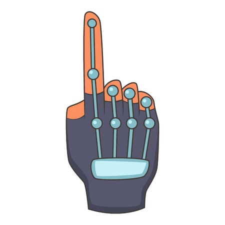 Robotic mechanical arm icon, cartoon style Illustration