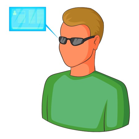 Man with future high tech smart glasses icon Illustration