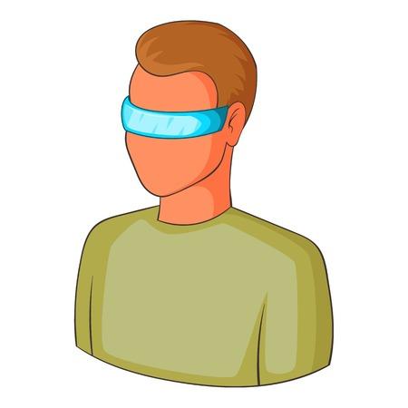 Man in futuristic glasses icon, cartoon style
