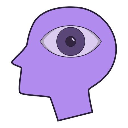 human eye: Eye inside human head icon, cartoon style