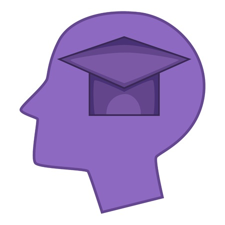 Graduation cap inside human head icon