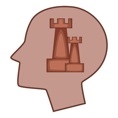 Castle inside human head icon, cartoon style Vektoros illusztráció