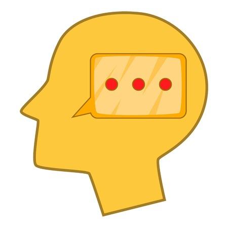 science symbols metaphors: Speech bubble inside human head icon cartoon style