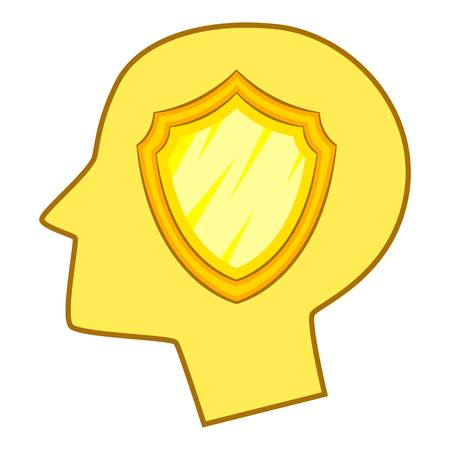 Shield inside human head icon, cartoon style Illustration