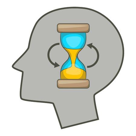 science symbols metaphors: Hourglass inside human head icon, cartoon style