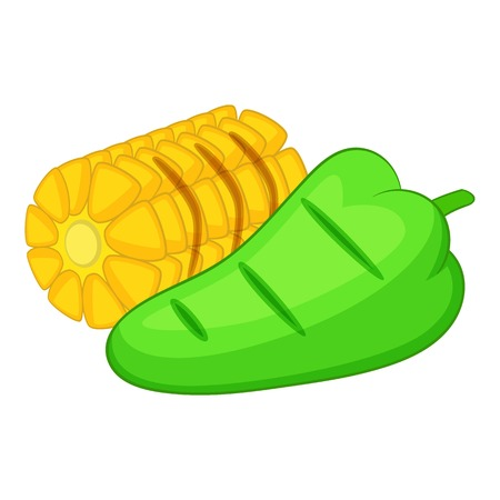 Corncob and green paper icon, cartoon style