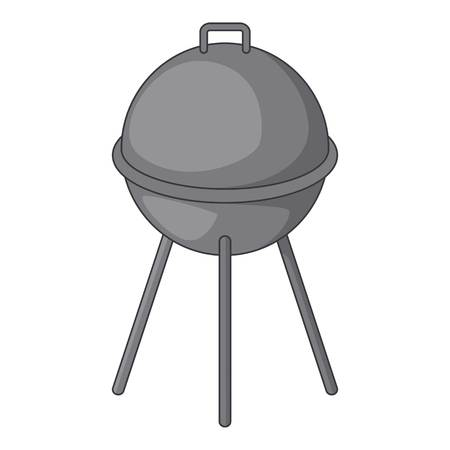 barbecue grill: Kettle barbecue grill icon, cartoon style