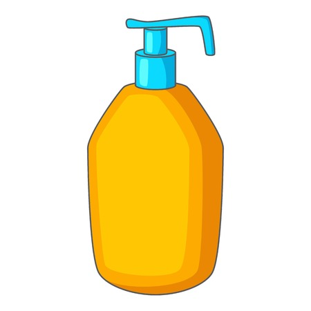 dishwashing liquid: Bottle with liquid soap icon, cartoon style Illustration