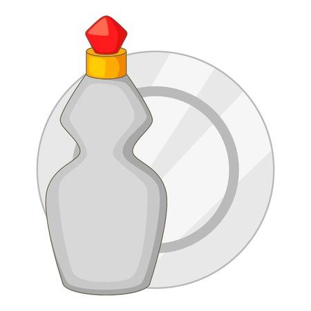 Dishwashing liquid bottle and plate icon Illustration