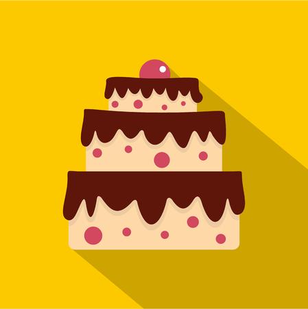 indulgence: Cake icon, flat style Illustration