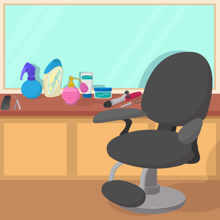 haircurlers: Hairdressing workspace concept, cartoon style