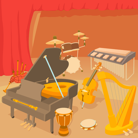Musical instruments concept, cartoon style