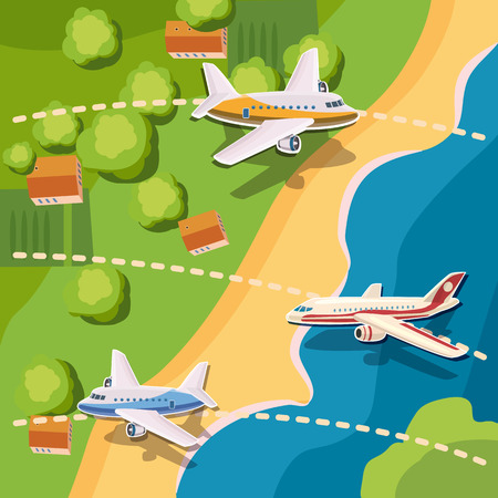 Aviation planes top view concept, cartoon style Illustration