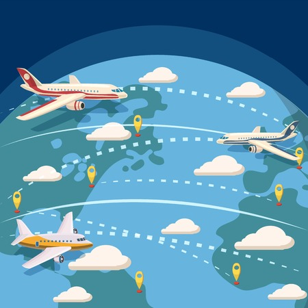 Aviation global logistic concept, cartoon style