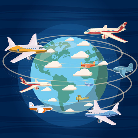 Airplanes around the world concept, cartoon style