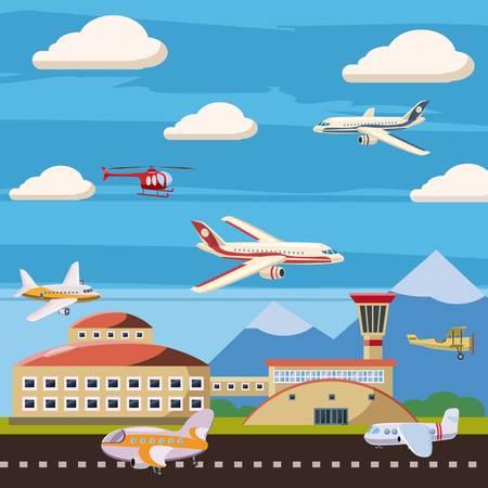 Aviation airport echelon concept, cartoon style
