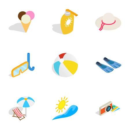 Summer holidays icons, isometric 3d style