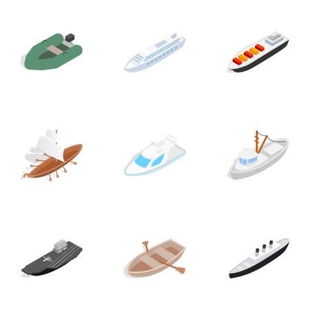 aéroglisseur: Icônes à la voile, style isométrique 3d Illustration
