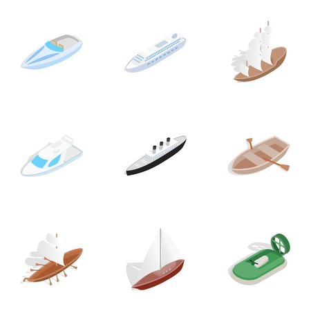 hovercraft: Sea ship, boat and yacht icons, isometric 3d style