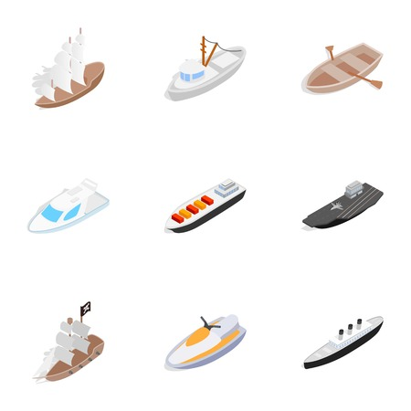Water transport icons, isometric 3d style Illustration