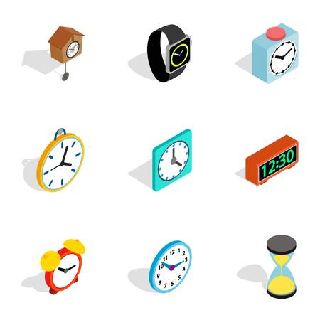 chronograph: Time and clock icons, isometric 3d style Illustration