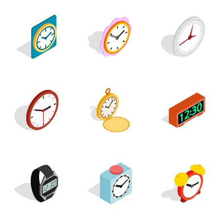 chronograph: Time equipment icons, isometric 3d style Illustration