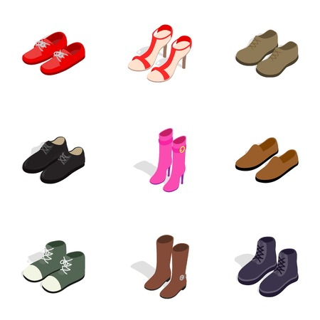 Footwear icons, isometric 3d style