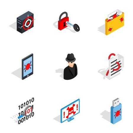 Hacker icons, isometric 3d style