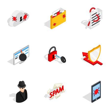 Icone di sicurezza di Internet, stile 3d isometrico