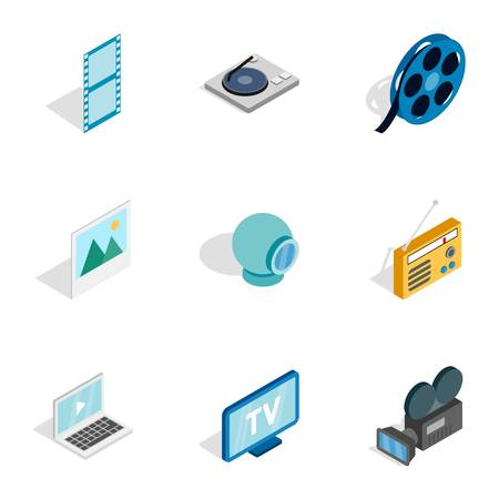 nternet: Audio and video icons, isometric 3d style Illustration