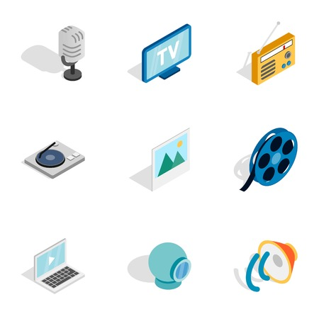 nternet: Multimedia icons, isometric 3d style