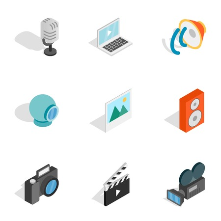 nternet: Music, photo and video equipment icons