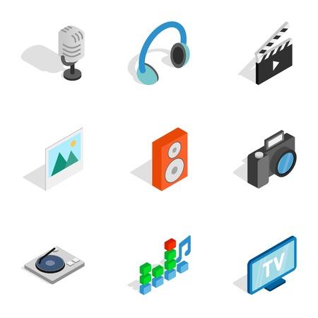 Computer technology icons, isometric 3d style Çizim