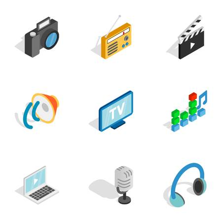Movie and video icons, isometric 3d style Çizim