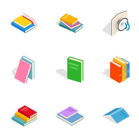 Books icons, isometric 3d style