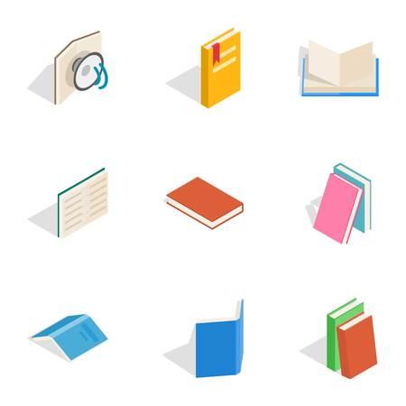 Reading icons, isometric 3d style Illustration